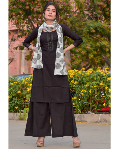 Black Zari Kurta And Palazzo With Printed Stole- Set Of Three (PREORDER 2-4 WEEKS DELIVERY)