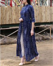 Load image into Gallery viewer, Blue pure ikat flare cape (PREORDER 2-4 WEEKS DELIVERY)