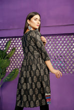 Load image into Gallery viewer, Multi Color Embrioded Black Frock (2-5 weeks delivery)