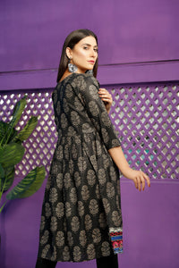 Multi Color Embrioded Black Frock (2-5 weeks delivery)
