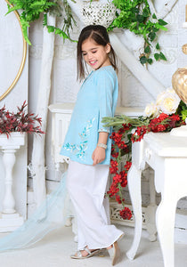 Blue Chambray Cotton 3 Pc suit