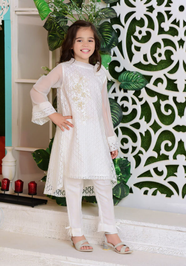 White Shimmer Net with Applique Embroidered KIDS (PREORDER 2-4 WEEKS DELIVERY)
