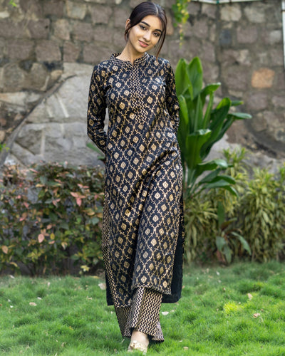 Black And Golden Kurta And Palazzo Set (PREORDER 2-4 WEEKS DELIVERY)