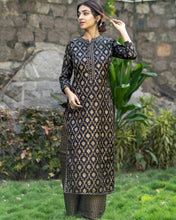 Load image into Gallery viewer, Black And Golden Kurta And Palazzo Set (PREORDER 2-4 WEEKS DELIVERY)