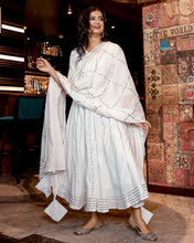 Load image into Gallery viewer, White Gota Anarkali Kurta And Pants With Dupatta- Set Of Three (PREORDER 2-4 WEEKS DELIVERY)
