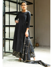 Load image into Gallery viewer, Flared Kurta And Palazzo With Dupatta- Set Of Three (2-5 weeks delivery)