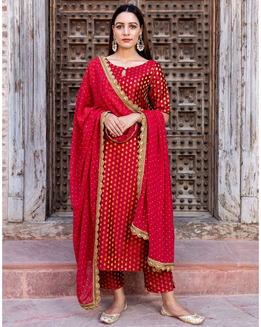 Red Brocade Set – Set Of Three (2-5 weeks delivery)