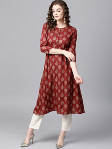 Women Maroon & Golden Printed A-Line Kurta (PREORDER 2-4 WEEKS DELIVERY)