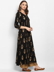 Women Black & Gold-Toned Printed Kurta with Trouser (PREORDER 2-4 WEEKS DELIVERY)