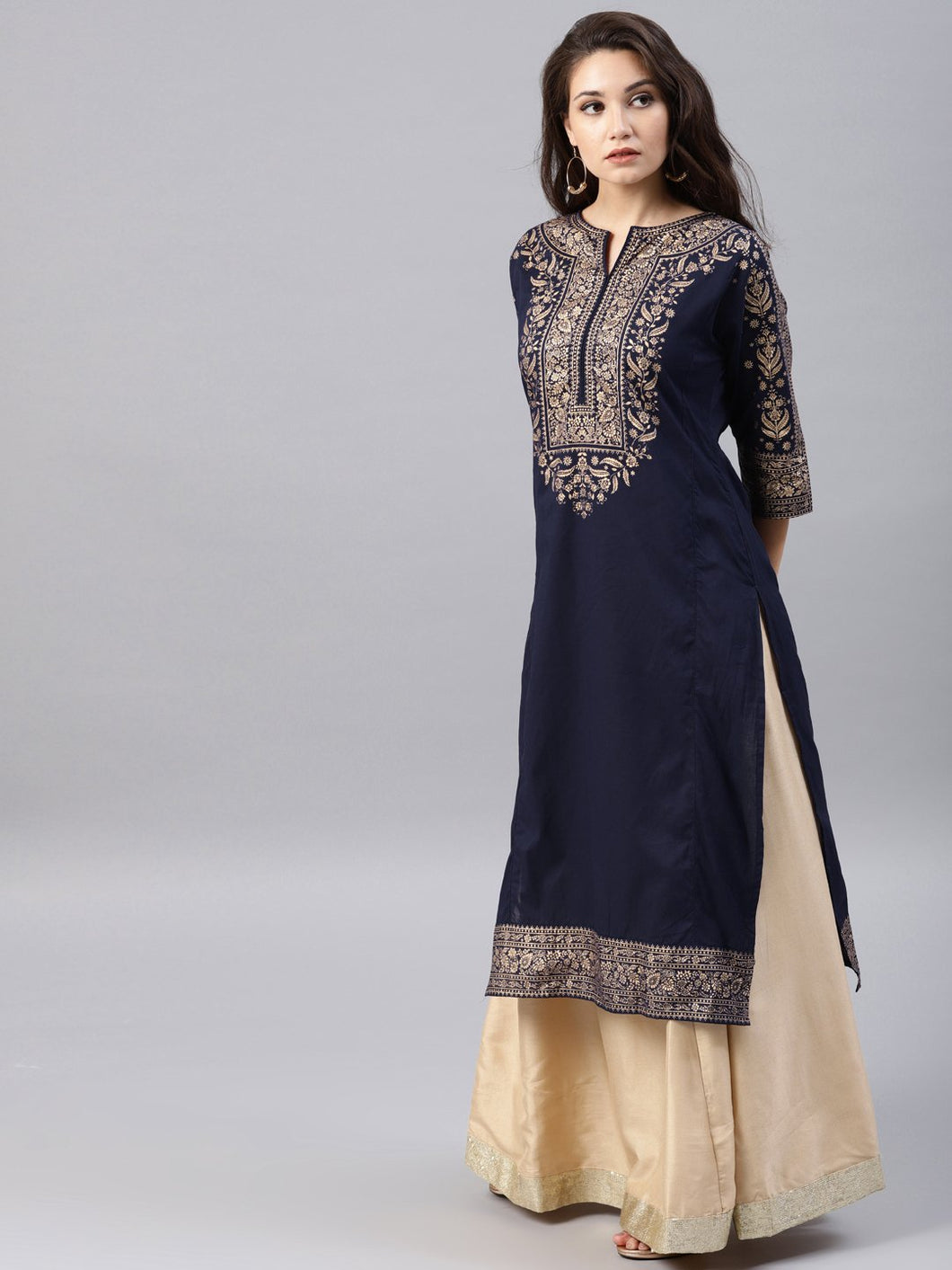 Blue printed kurta Only