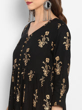 Load image into Gallery viewer, Black & Gold-Toned Printed Kurta with Trouser