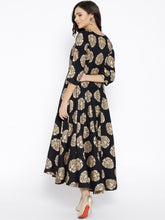 Load image into Gallery viewer, Women Black & Golden Printed Maxi Dress (PREORDER 2-4 WEEKS DELIVERY)