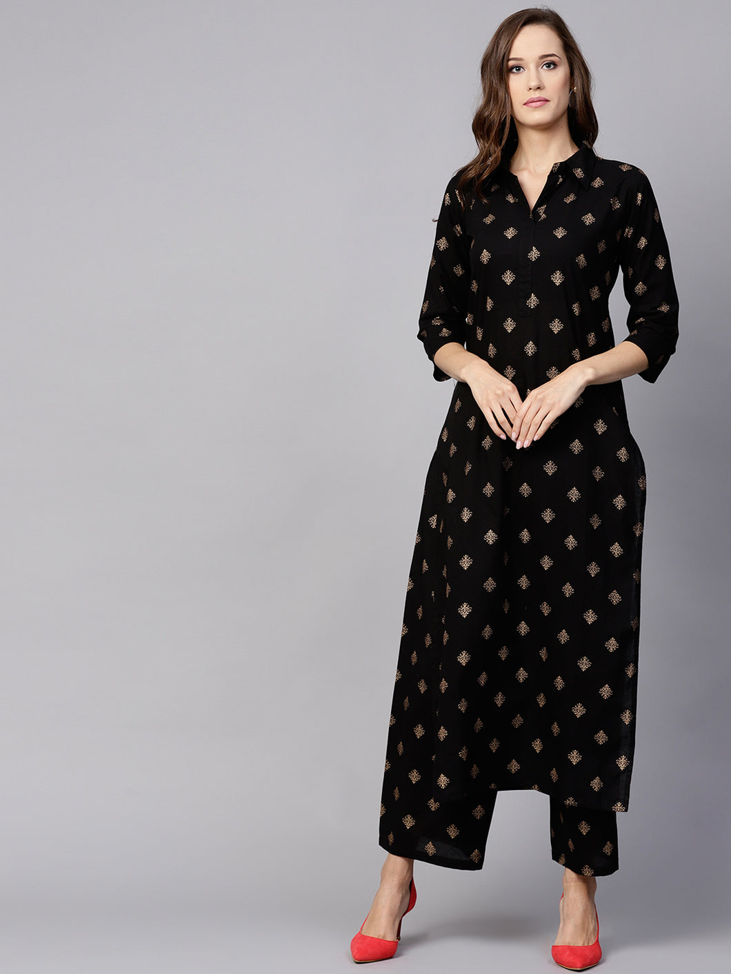Black gold printed kurta and trouser