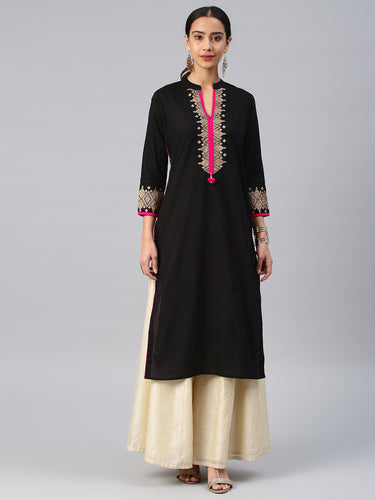 Black & pink printed kurta only (PREORDER 2-4 WEEKS DELIVERY)