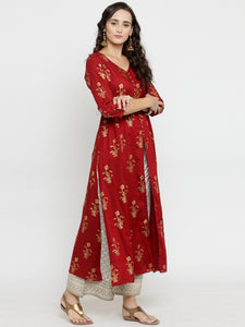 Women Red & Off-White Printed Kurta with Palazzos (PREORDER 2-4 WEEKS DELIVERY)
