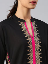 Load image into Gallery viewer, Black & pink printed kurta only (PREORDER 2-4 WEEKS DELIVERY)