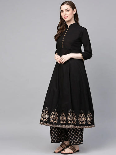 Black Print Border Frock With Trouser