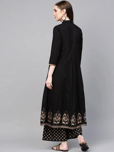 Black Print Border Frock With Trouser (PREORDER 2-4 WEEKS DELIVERY)