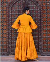 Load image into Gallery viewer, Mustard yellow block printed peplum top and lehenga set (2-5 weeks delivery)
