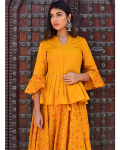 Mustard yellow block printed peplum top and lehenga set (2-5 weeks delivery)