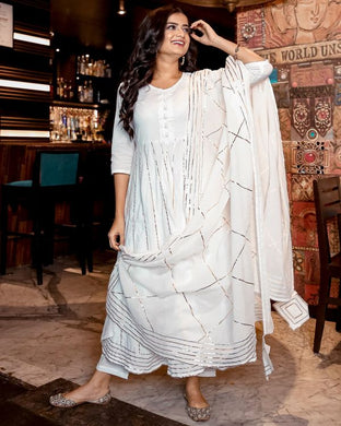 White Gota Anarkali Kurta And Pants With Dupatta- Set Of Three (PREORDER 2-4 WEEKS DELIVERY)