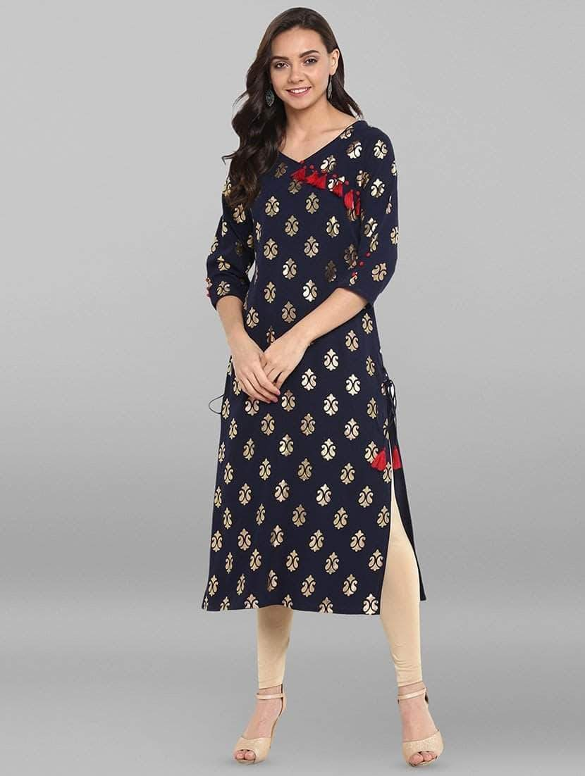 Gold Foil Printed angrakha blue kurti (2-5 weeks delivery)
