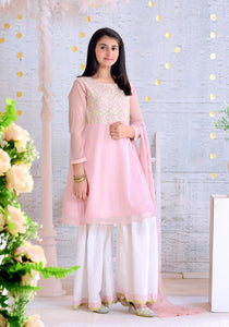 Tea Pink Chiffon with Embroidery KIDS
