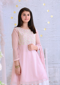 Tea Pink Chiffon with Embroidery KIDS (PREORDER 2-4 WEEKS DELIVERY)