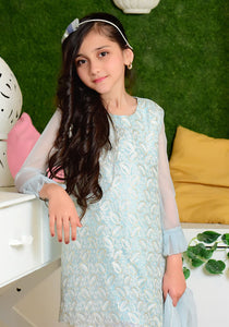 Tiffany Blue Chiffon with Embroidery and Lining Inside KIDS (PREORDER 2-4 WEEKS DELIVERY)