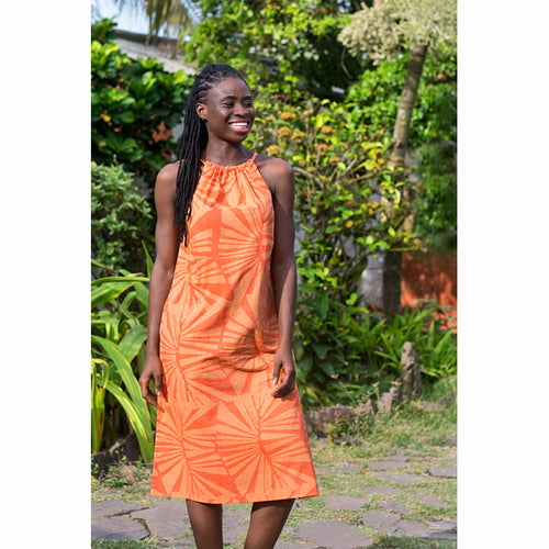 Kosa Dress Tangerine / Blue