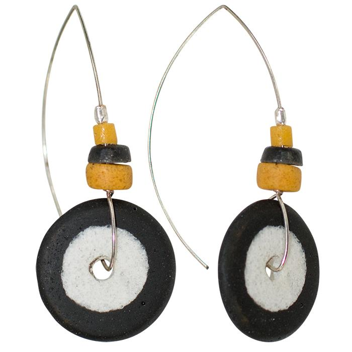 Full Circle Earring Black & Mustard
