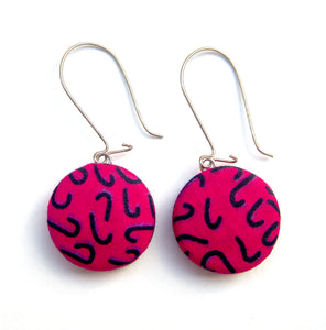 Up-cycled Earrings Round Pink