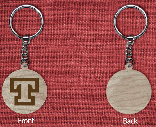 Solid wood keychain T