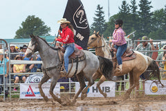 Bronwyn and Chief victory lap at the Ram rodeo in Forest