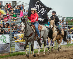 Bronwyn and Chief victory lap at the St Thomas Ram Rodeo