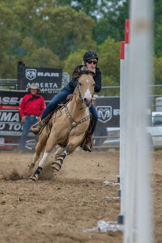 Apaches Golden Nugget, Chief and Bronwyn winning the St. Thomas Ram Rodeo in polebending