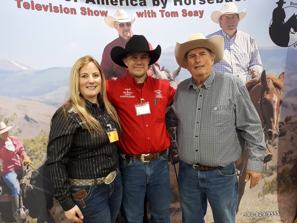 Jason Irwin and Bronwyn Irwin with Tom Seay of The Best Of America By Horseback RFDTV