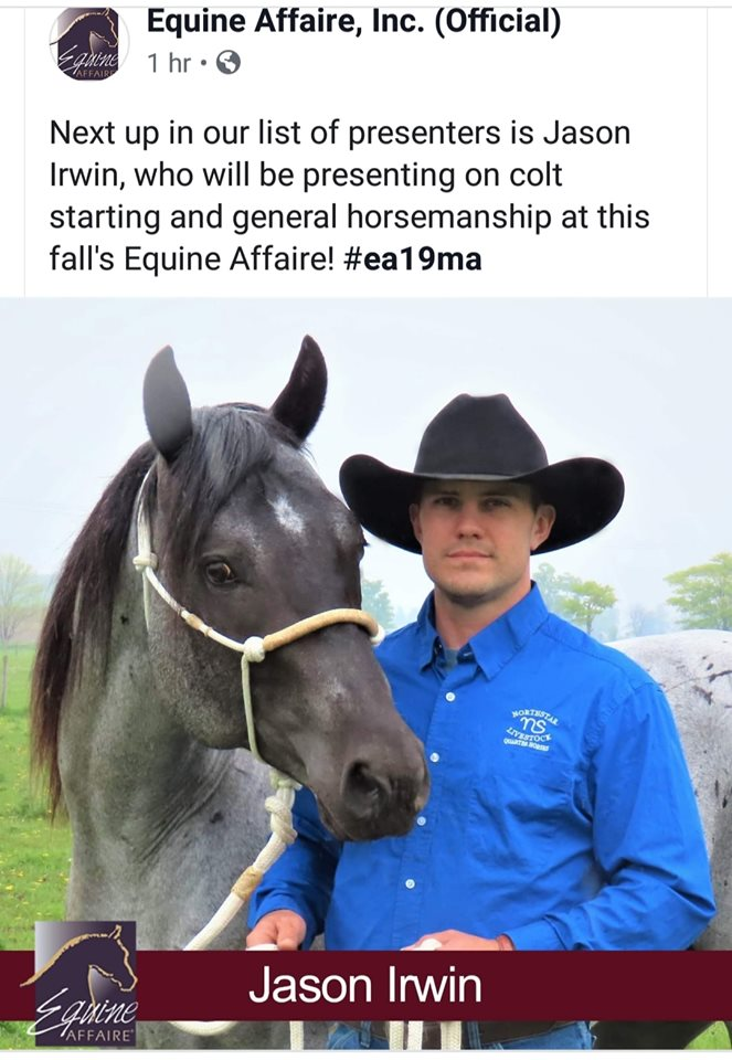 Jason Irwin Equine Affaire Horsemanship & Colt Starting Clinician