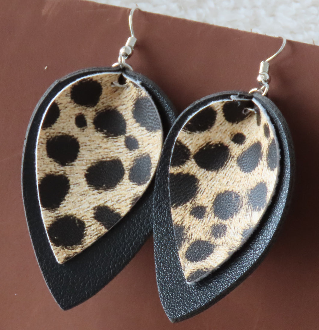 Wild Thing Earrings in Black & Cheetah