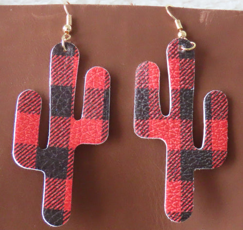 Buffalo Plaid Cactus Earrings