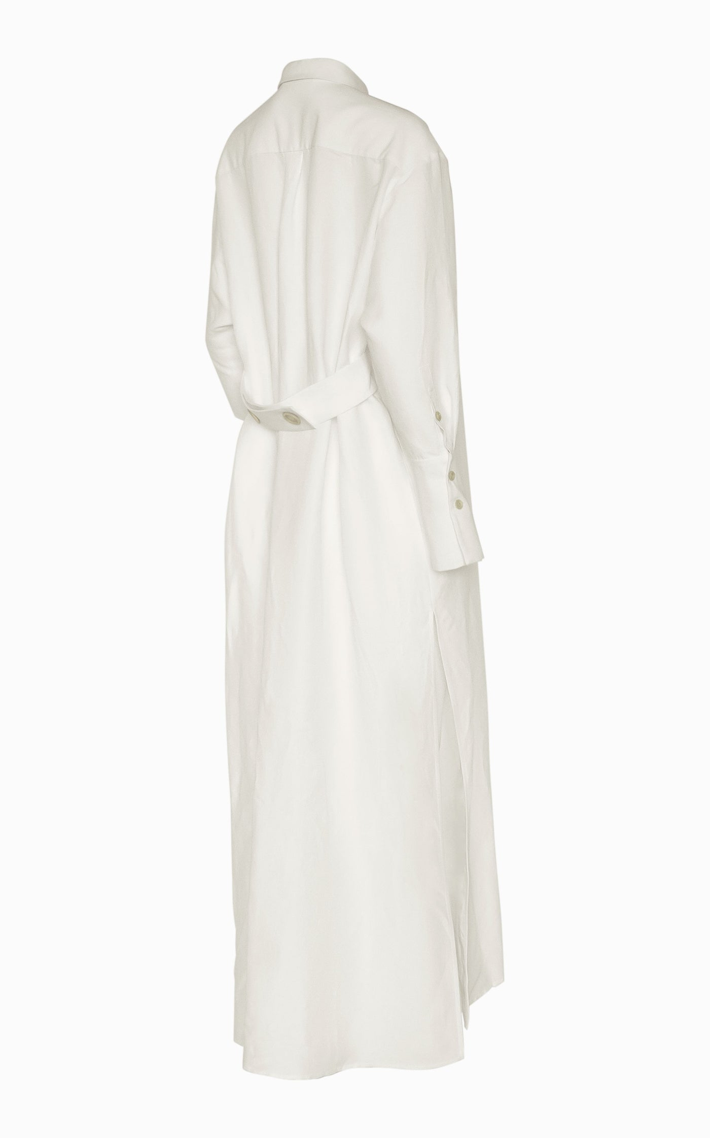 Preorder Cinch Belt Maxi Shirt Dress | Ivory