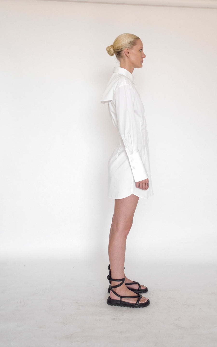 Nipped Mini Shirt Dress | White