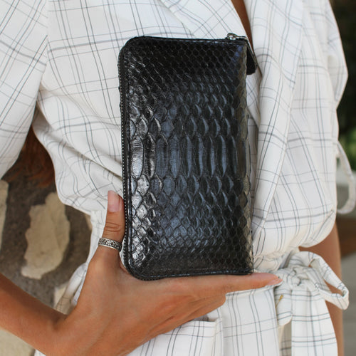 Paris Wallet in Black python with Black leather interior