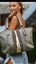 Load image into Gallery viewer, Jocasi Tote Shopper In Grey leather with Gold Feature