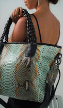 Load image into Gallery viewer, The Jocasi Tote Shopper in Grey/Aqua multi  python
