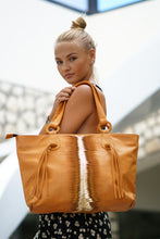 Load image into Gallery viewer, Jocasi Tan Leather tote Shopper with special cut and dyed Gold leather Feature