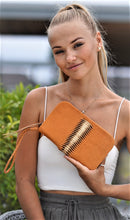 Load image into Gallery viewer, Jocasi London Wallet in Tan leather with dyed Gold leather frissure feature