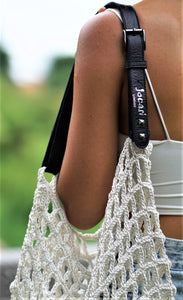 Yoga bag in White Crochet with inner lining velvet bag