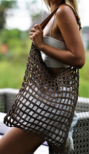 Jocasi Yoga Bag in Brown Crochet with adjustable leather handle