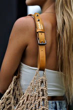 Load image into Gallery viewer, Jocasi Yoga Bag in light brown/tan hand knitted Crochet